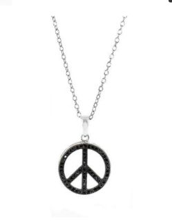 Sterling silver black peace pendant necklace