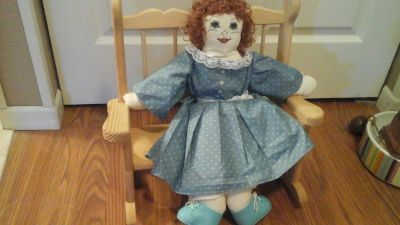 Hand Made/Sewn doll with Handmade Wooden Rocking Chair/Bench