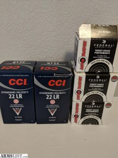 For Sale: .22LR Ammo 1krds CCI Standard Velocity, >750rds Federal Automatch