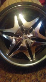 4 crome 22in Akuza rims and tires and dream and treasure collectible doll