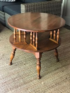 Ethan Allen Round Revolving Book Table