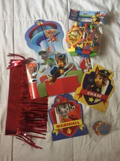 Paw patrol table decorations and party blowers