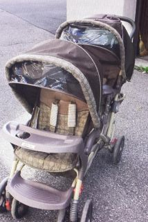 Graco DuoGlider Double Stroller. Beige & brown. Kindly read below & refer to pics.