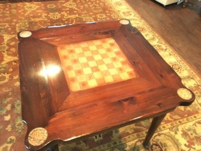 Solid wood chess table and vintage chess set