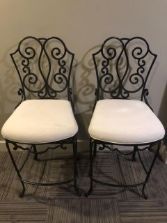 Solid Wrought Iron Bar Stools with Linen Seat Cushions (Bombay Co Brand)