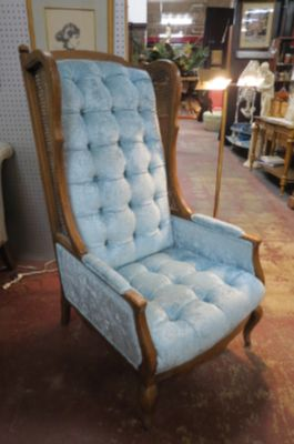 SALE! Vintage Mid century fruitwood wing chair