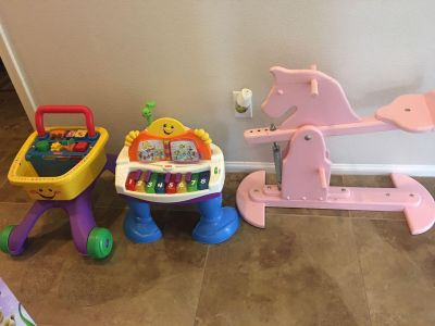 Fisher price cart, piano and adjustable wooden horse