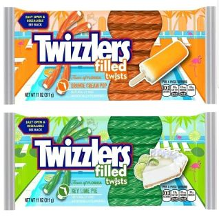 #1 Twizzlers Filled Twists Key Lime Pie and Orange Cream Pop Bundle 2 Pack 11 ounce