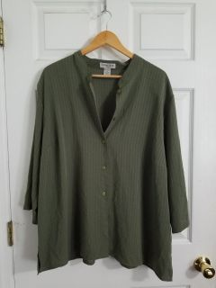 Olive Green Notations Button Up Size 3X