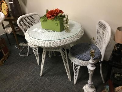 Wicker Bistro Table & 2 Chairs-Glass Top