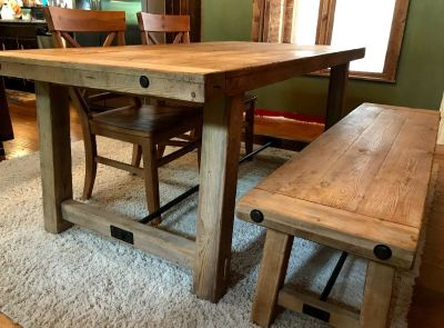 Pottery Barn Table, 2 chairs  and a bench