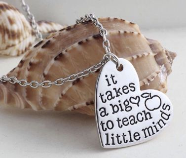 Brand New It Takes a Big Heart to Teach Little Minds Hand Stamped Necklce - Teacher Gift