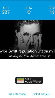 Two Taylor Swift tickets