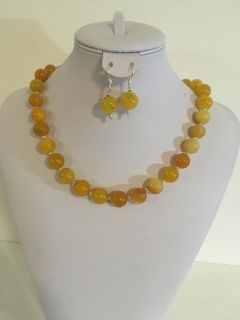 Gorgeous REAL Chunky Yellow Jade and Silver Tone Bead Gemstone Statement Necklace