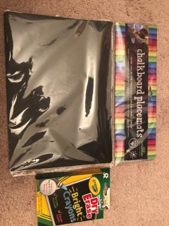 Kids Chalkboard Placemats with Dry Erase Bright Crayons