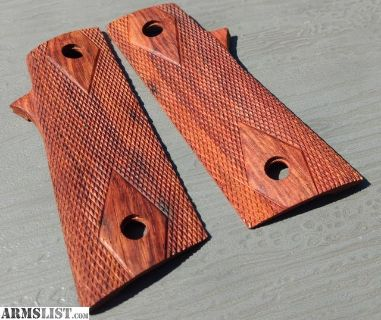 For Sale: Para-Ordnance P14 P16 P18 Real Mahogany Wood Checkered Double Diamond 1911 Grips