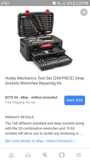 Husky tool box holds wrenches and sockets