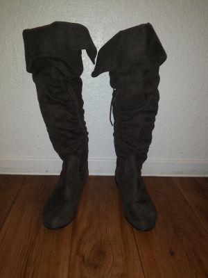 Aldo suede brown knee high flat boots