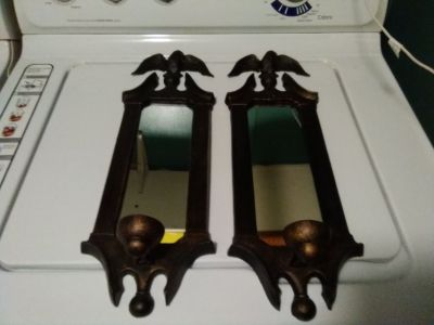 Vintage mirrored eagle candle holders