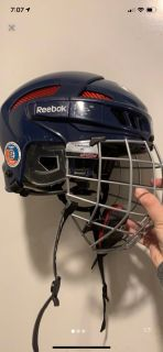 Reebok certified navy and red hockey helmet with flexliner interior
