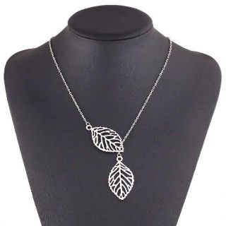 Silver colored leaf necklace 15-16 1/2 with adjustable clasp NEW!