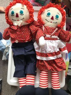 Large Raggedy Ann and Andy dolls