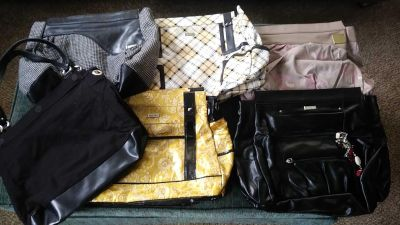 Black Miche bag with 5 shells, long black strap and extra brown short straps (see additional pic) $65 for all