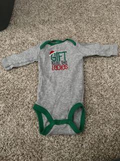 3 month Pant and onesie Christmas outfit.