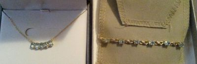 NIB- Blue topaz/dia necklace & bracelet