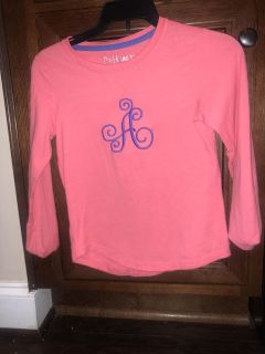 """Monogrammed """"A"""" Top girl's 6"""