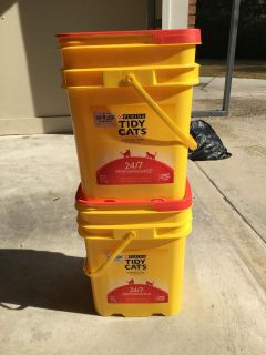 FREE - 2 Cat litter containers.