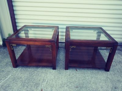 Pair of solid wood End Tables w Glass Inlay