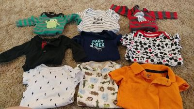 Baby boy clothes & carseat canopy