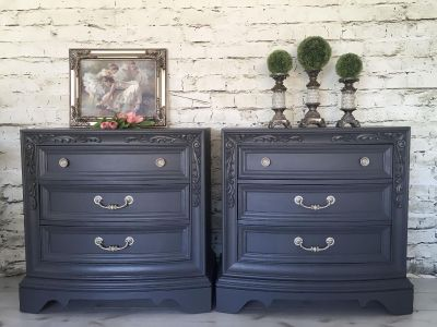 Gorgeous pair of large newly hand painted 3 drawer chests/ tables/ nightstands. Lovely details