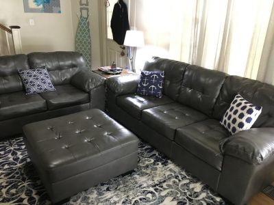 Ashley Durablend Leather Sofa, Loveseat, and Ottoman