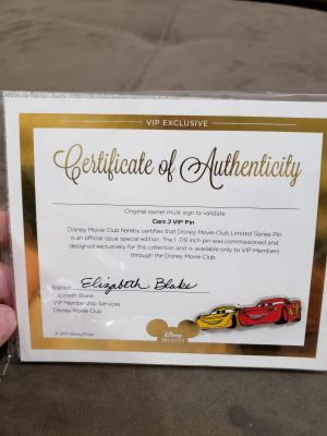 New In Package Cars 3 Disney's Collectors Trading Pin