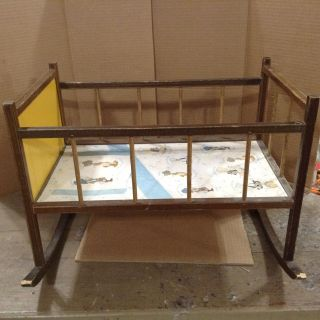 HOLLY HOBBIE Themed Rocking Doll Cradle