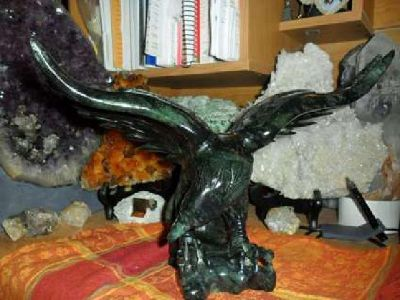 Exceptional and Beautiful VERY LARGE Antique Black Jade Eagle Statue