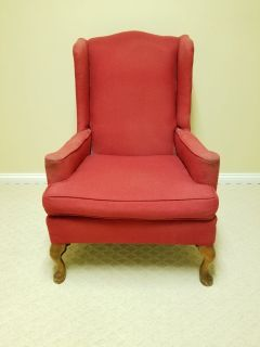 VINTAGE RED WING BACK CHAIR