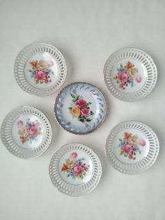 Lot of 6 Small Vintage 6 Inch Round Ceramic Decorative Dishes- VGC