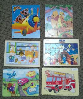 children's wood puzzles set of 6 winnie the pooh fire truck