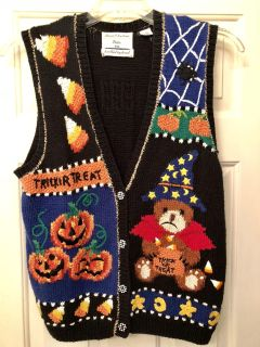 Darling Fall Halloween Vest Vintage 1980 s Hand Knitted
