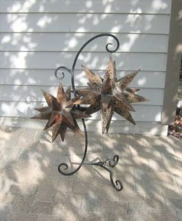 Patio / Deck / Porch Wrought Iron Hanger with Unique Metal Stars