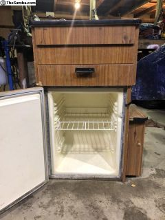 Westy corner cabinets, sinks cabinets and ice box.