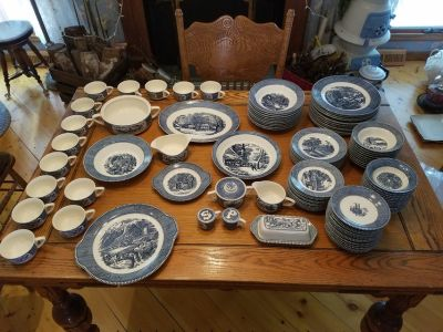Currier and Ives Blue and White Vintage Dishes Royal China Company