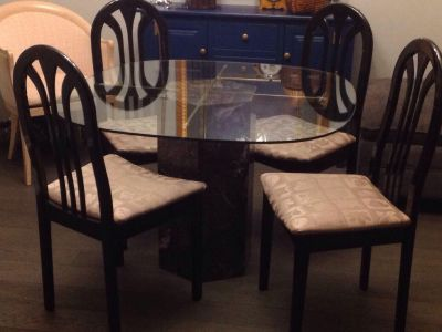 Table, newly covered chairs