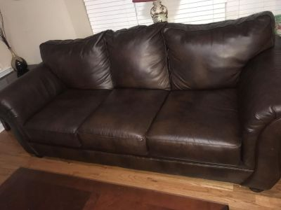 Living room brown leather sofa couch & chair set