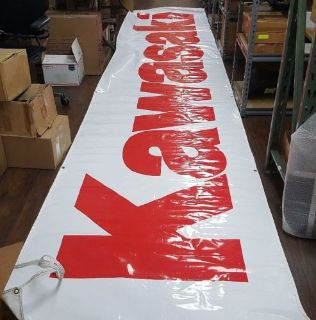 Sell USED OEM KAWASAKI LARGE 20 FOOT BANNER WHITE WITH RED LETTERING 99969-2333 SIGN motorcycle in Columbia, Connecticut, United States, for US $49.99