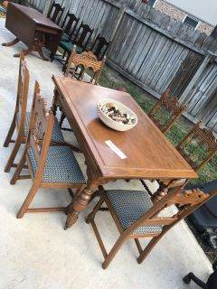Kitchen Table with Extensions and 6 Chairs