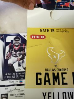 Parking pass and 2 tickets to pre-season Texans vs. Cowboys. Thursday Aug. 30th.